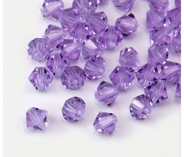 Violet Czech Crystal Beads, 6mm Faceted Bicone, Pack of 20