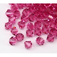 Pink Czech Crystal Beads, 6mm Faceted Bicone