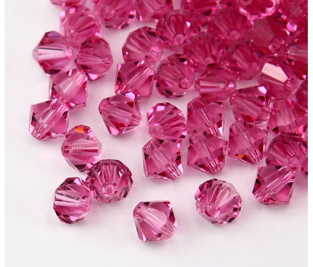 Pink Czech Crystal Beads, 6mm Faceted Bicone, Pack of 20