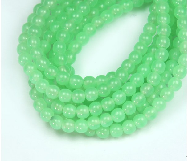 Milky Green Turquoise Czech Glass Beads, 4mm Round