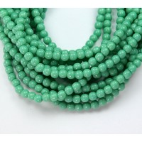 Green Turquoise Czech Glass Beads, 4mm Round
