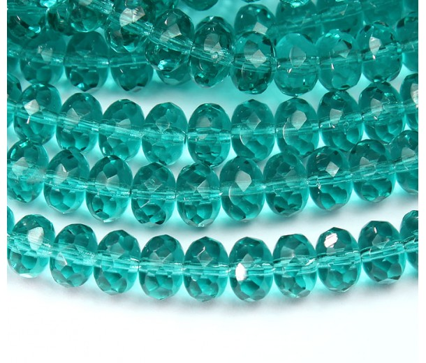 Light Teal Czech Glass Beads, 9x6mm Rondelle
