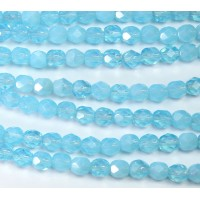 Milky Aquamarine Czech Glass Beads, 6mm Faceted Round