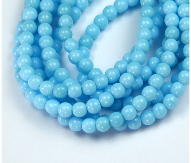 Opaque Baby Blue Czech Glass Beads, 4mm Round