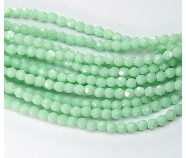 Pale Mint Green Czech Glass Beads, 4mm Faceted Round