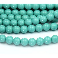 Opaque Turquoise Czech Glass Beads, 8mm Round