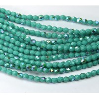 Turquoise AB Czech Glass Beads, 4mm Faceted Round