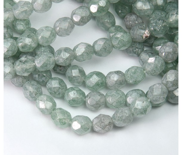 Green Stone Luster Czech Glass Beads, 6mm Faceted Round