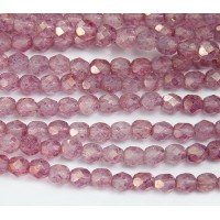 Pink Stone Luster Czech Glass Beads, 6mm Faceted Round