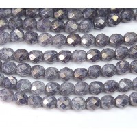 Amethyst Stone Luster Czech Glass Beads, 6mm Faceted Round