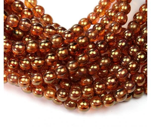 Rose Gold Topaz Luster Czech Glass Beads, 6mm Round