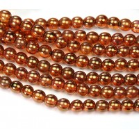 Rose Gold Topaz Luster Czech Glass Beads, 6mm Round