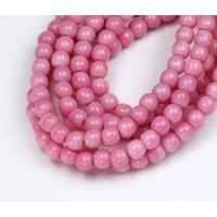 Opaque Pink Czech Glass Beads, 4mm Round
