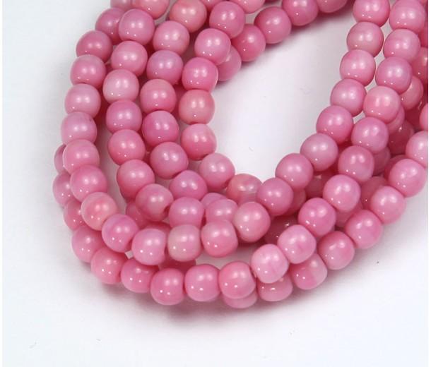 Opaque Pink Czech Glass Beads, 4mm Round