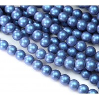 Metallic Suede Blue Czech Glass Beads, 8mm Round