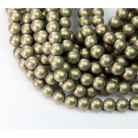 Metallic Suede Gold Czech Glass Beads, 8mm Round
