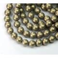 Metallic Suede Gold Czech Glass Beads, 8mm Round
