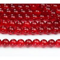 Siam Red Czech Glass Beads, 8mm Round