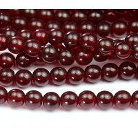 Ruby Red Czech Glass Beads, 8mm Round