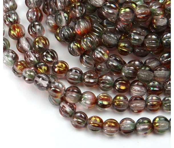 Crystal Pink Luster Czech Glass Beads, 5mm Melon Round