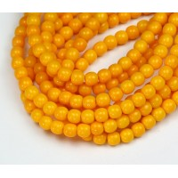 Opaque Orange Czech Glass Beads, 4mm Round