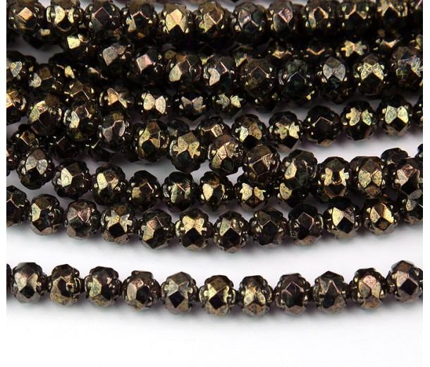 Tanzanite Bronze Picasso Czech Glass Beads, 6mm Rosebud