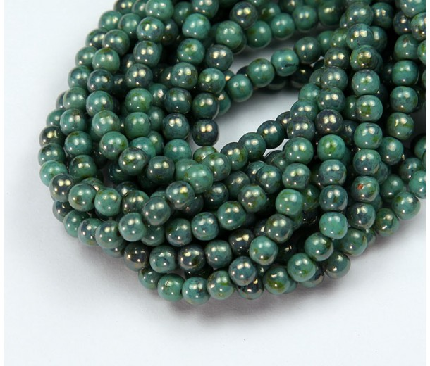 Turquoise Bronze Picasso Czech Glass Beads, 4mm Round