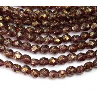 Amethyst Stone Copper Picasso Czech Glass Beads, 6mm Faceted Round