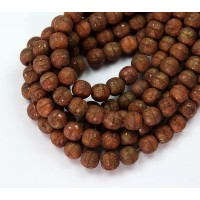 Coral Stone Gold Picasso Czech Glass Beads, 6mm Round