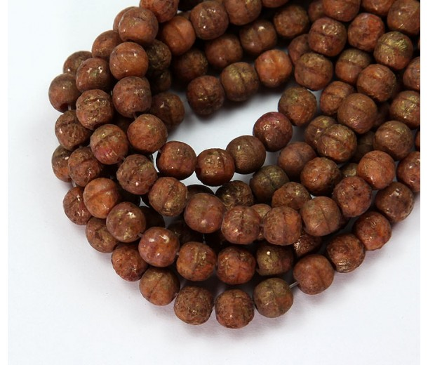Brown Stone Gold Picasso Czech Glass Beads, 6mm Round