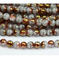 Coral Grey Pink Luster Czech Glass Beads, 8mm Round