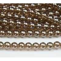 Smoky Topaz Luster Czech Glass Beads, 8mm Round