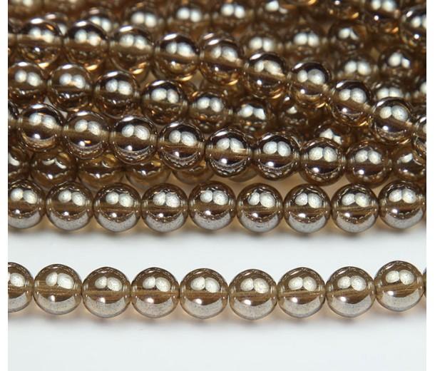 Smoky Topaz Luster Czech Glass Beads, 8mm Round