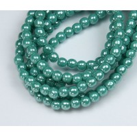 Opaque Turquoise Luster Czech Glass Beads, 4mm Round