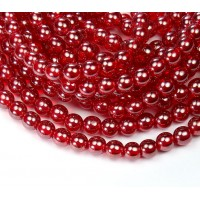 Siam Red Luster Czech Glass Beads, 6mm Round