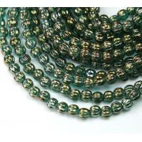 Atlantis Green Iris Luster Czech Glass Beads, 5mm Melon Round