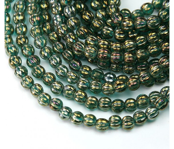 Atlantis Green Iris Luster Czech Glass Beads, 5mm Melon Round