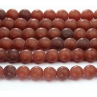 Matte Milky Caramel Czech Glass Beads, 8mm Round