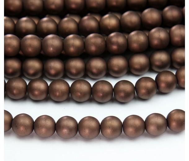 Matte Dark Bronze Czech Glass Beads, 8mm Round