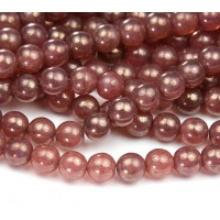 Milky Pink Moon Dust Czech Glass Beads, 8mm Round