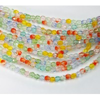 Summer Mix Czech Glass Beads, 4mm Faceted Round