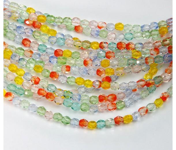 Summer Mix Czech Glass Beads, 4mm Faceted Round