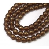 Matte Smoky Topaz Czech Glass Beads, 6mm Round