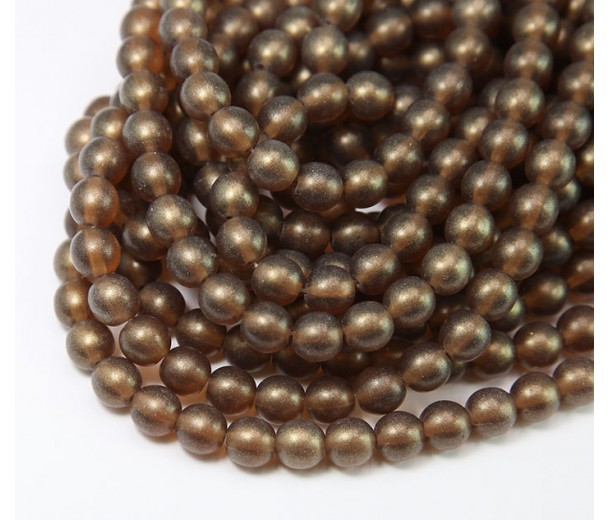Matte Smoky Topaz Czech Glass Beads, 6mm Round