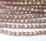 Suede Gold Med Amethyst Czech Glass Beads, 6mm Faceted Round