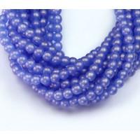 Suede Gold Sapphire Czech Glass Beads, 4mm Round