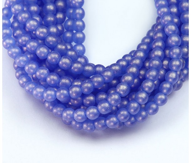 Suede Gold Sapphire Czech Glass Beads, 4mm Round