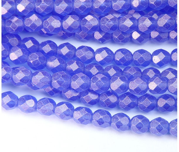 Suede Gold Sapphire Czech Glass Beads, 6mm Faceted Round