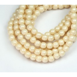 Opaque Champagne Luster Czech Glass Beads, 4mm Round