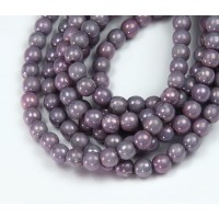 Opaque Amethyst Luster Czech Glass Beads, 4mm Round